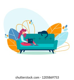 Student girl, freelancer studying, working on a laptop at home sitting on the couch with her cat. Freelance, online education concept. Vector illustration.