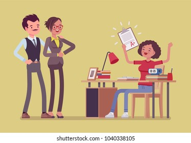 Student girl happy with an excellent mark. School or college pupil showing parents a test with good grade, great study achievement. Science, education concept. Vector flat style cartoon illustration