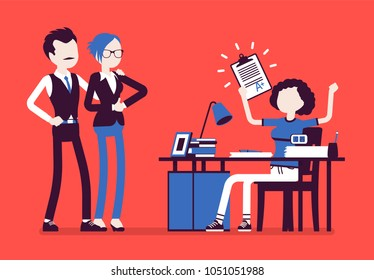 Student girl happy with an excellent mark. School or college pupil showing parents a test with good grade, great study achievement. Science, education concept. Vector illustration, faceless characters