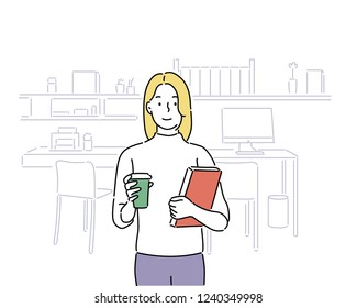 student girl and her workroom. hand drawn style vector design illustrations.