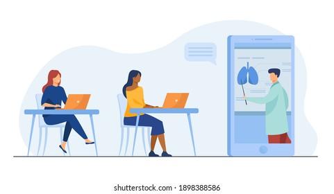 Student girls learning medicine online. Tutor giving webinar, human organs chart. Flat vector illustration. Distance education, teaching concept for banner, website design or landing web page