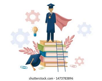 Student graduation Vector flat style. Symbols knowledge template. Happy pupils moments. Achieved steps diploma university graduate
