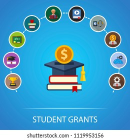 Student grants flat icons concept. Vector illustration. Element template for design.
