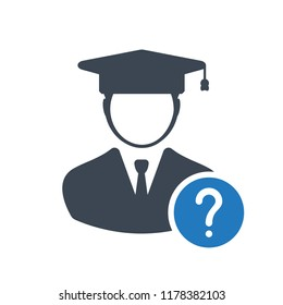 Student icon, education concept icon with question mark. Student icon and help, how to, info, query symbol
