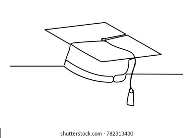 student icon vector . Continuous line drawing. square academic cap