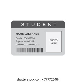 Student ID card with blank space for a photo. Vector illustration