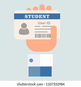 Student ID card. Flat design.