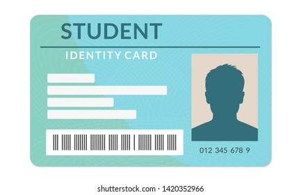 Student ID card. University, school, college identity card. Vector illustration.