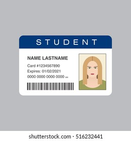 Student ID card. Vector illustration