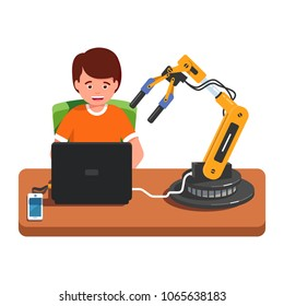 Student kid programming a robotic arm connected to laptop computer, studying engineering. Young engineer working on robotic arm technology project setup. Flat style vector illustration