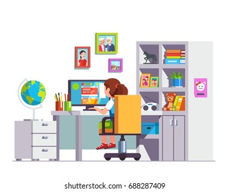 Student kid sitting at home office desk, doing school homework, surfing web on desktop computer. Modern girls room interior with rolling chair, table, books & toys. Flat vector isolated illustration.