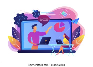 Student with laptop and lector at the LCD screen. Webinar, web seminars, webcasts, and peer-level web meetings. Modern education and collaborative sessions concept. Vector illustration on background.