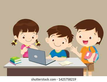 student with laptop,Illustration of Kid studying with the use of Laptop, notebook,Children and friend using laptop
