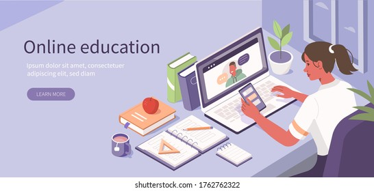 Student Learning Online at Home. Character Sitting at Desk, Looking at Laptop and Studying with  Smartphone, Books and Exercise Books. Online Education Concept. Flat Isometric Vector  Illustration.