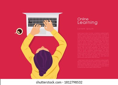 Student Learning Online at Home. Character lying on the floor, Looking at the Laptop and Studying. Online Education Concept. Flat Vector Illustration.