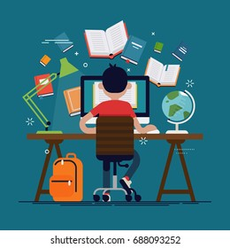 Student in learning process, back view. Kid sitting behind his desk studying online using his computer flat vector illustration with work table, school backpack, books globe, etc.