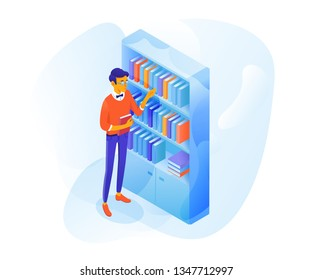 Student in library vector illustration. Smart pupil in glasses cartoon character. Nerd with book isolated clipart. Bookshelf isometric drawing. Young guy studying. Bookstore design element