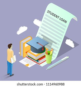 Student loan concept vector isometric illustration. Student loan agreement with books, graduation hat and student borrowing money to pay for education.