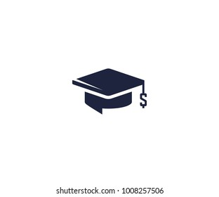 Student loan logo template. Bachelor cap and dollar symbol vector design. Education credit illustration
