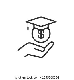 Student loans. Academic scholarship icon concept isolated on white background. Vector illustration