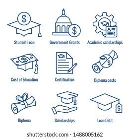 Symbol für Studiendarlehen mit akademischen Stipendien und Schuldenbildnis
