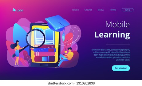 Student with magnifier studing in mobile phone. Mobile learning, learning application, m-learning education concept. Website vibrant violet landing web page template.
