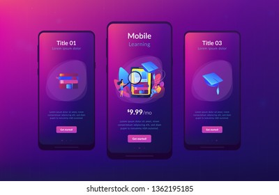 Student with magnifier studing in mobile phone. Mobile learning, learning application, m-learning education concept. Mobile UI UX GUI template, app interface wireframe