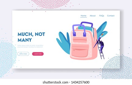 Student Male Character on Ladder Put Huge Paint Brush into Backpack. Education, Knowledge, Stationery, Back to School Concept Website Landing Page, Web Page. Cartoon Flat Vector Illustration, Banner