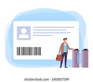 Student man character pass with personal school smart card. Vector flat graphic design isolated illustration