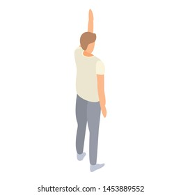 Student man hand up icon. Isometric of student man hand up vector icon for web design isolated on white background