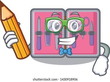 Student manicure kit above cartoon makeup table