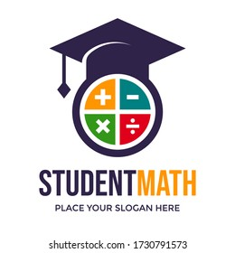 Student math vector logo template. This design use calculator symbol. Suitable for education.