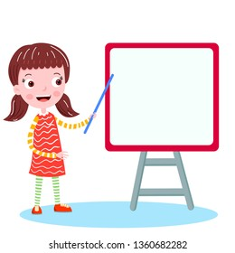 student on the white board