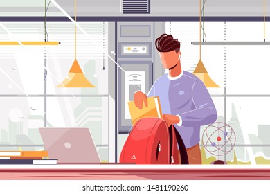 Student packing backpack vector illustration. Young guy in casual clothes putting books and copy-books in school bag flat style design. Back to school concept
