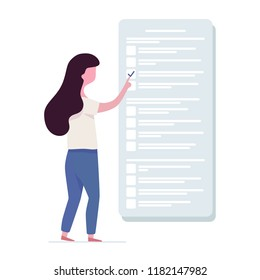 The student passes the exam. Girl and test in school, college or university. Vector illustration in flat style