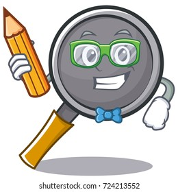 Student with pencil frying pan cartoon character