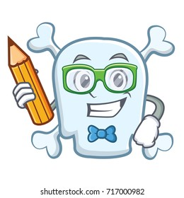 Student with pencil skull character cartoon style