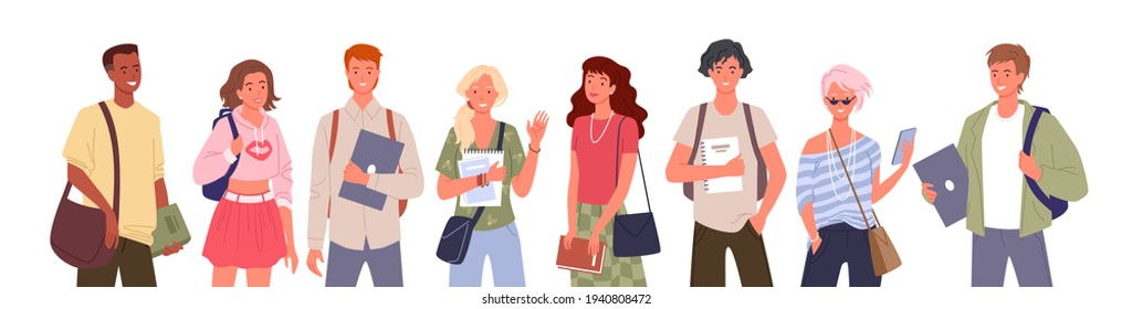 Student people diversity vector illustration set. Cartoon young multinational group of man woman diverse characters standing in row and waving, holding laptop, books and textbooks isolated on white. - Shutterstock ID 1940808472