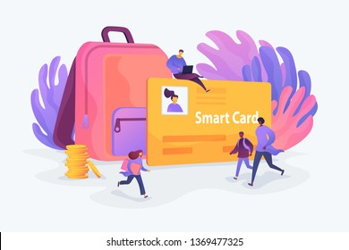 Student profile, school attendance, student identification microchip, school access concept. Vector isolated concept illustration with tiny people and floral elements. Hero image for website.