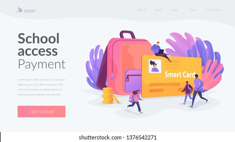 Student profile, school attendance, student identification microchip, school access concept. Website homepage interface UI template. Landing web page with infographic concept hero header image.