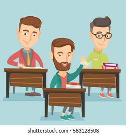Student raising hand in the classroom for an answer. Happy student sitting at the desk with raised hand. Clever student raising his hand at lesson. Vector flat design illustration. Square layout.