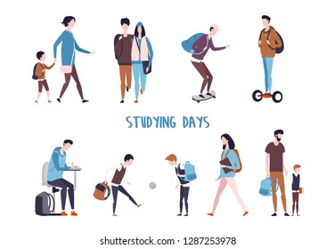 Student and school kids activity. Couple walking and boy doing homework, children playing ball and father holding son hand, man skating and using hoverboard, mother with schoolboy. Education lifestyle