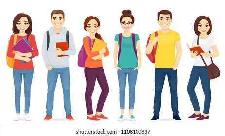 Student set with books and backpacks isolated vector illustration