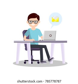 Student sits at a Desk with a computer. Browsing on the Internet. The man nerd on the chair. Viewing e-mail. Communication in social networks and messengers - Cartoon flat illustration
