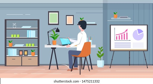 student sitting at desk using laptop guy analyzing statistic data on flip chart e-learning education concept modern cabinet interior flat full length rear view horizontal
