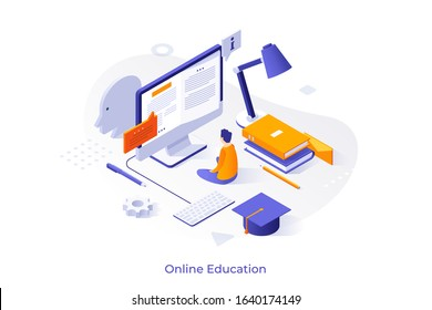 Student sitting in front of giant computer display and reading book on screen. Concept of online education, distant learning, getting university degree via internet. Isometric vector illustration.