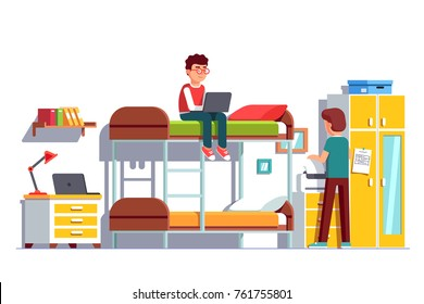 Student sitting on bunk bed using laptop computer. Dormitory room interior, wardrobe, bedside table, printer. Two teen brothers sharing bedroom. Friends study home together. Flat vector illustration.