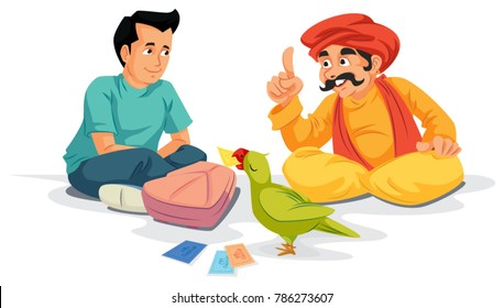 student sitting with parrot astrologer, parrot holding lucky cards, astrologer predicting future of student