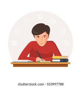 Student sitting at table with books and writing. Young people preparing for exams at University or school. Icons of learning. Vector illustration isolated on white background
