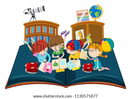 Student Study Classroom Pop Book Illustration Stock Vector Royalty